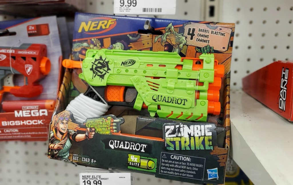 NERF Zombie Strike toy in package on display in store