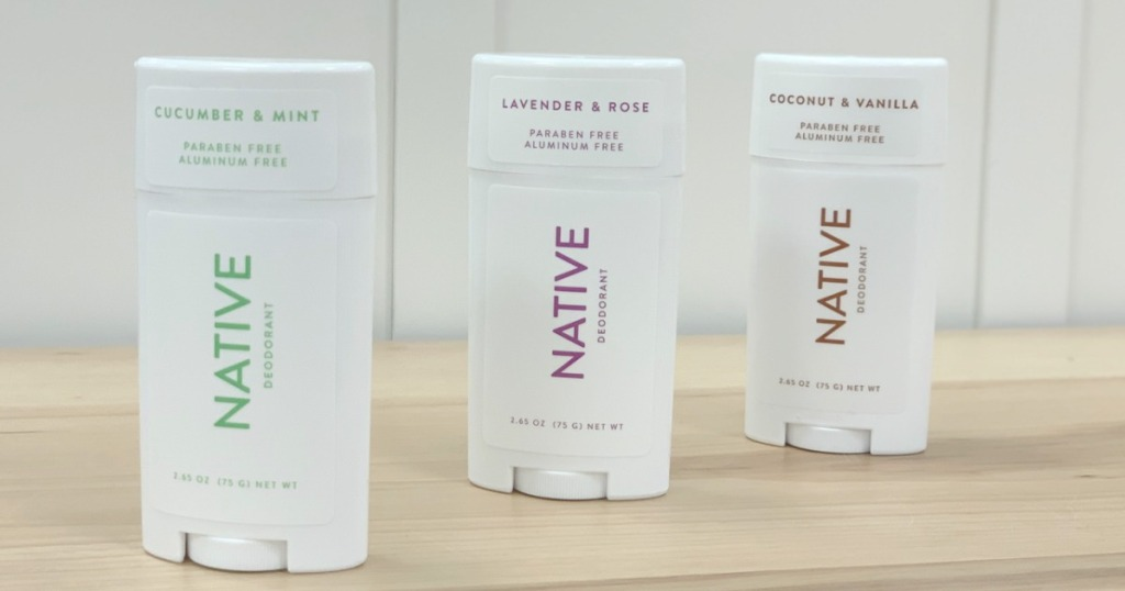 Native Deodorant 3-Pack on counter top