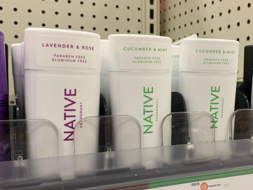 Native Deodorant on display in-store