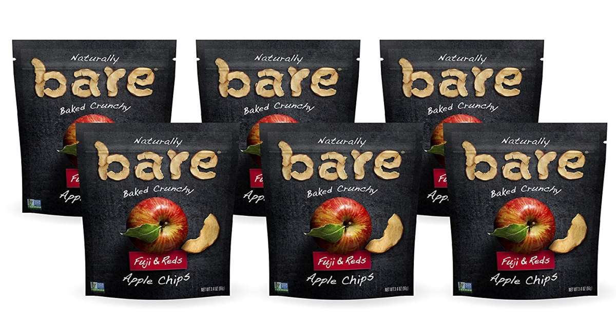 Naturally Bare Baked Apple Chips - 6 Black bags of Apple chips