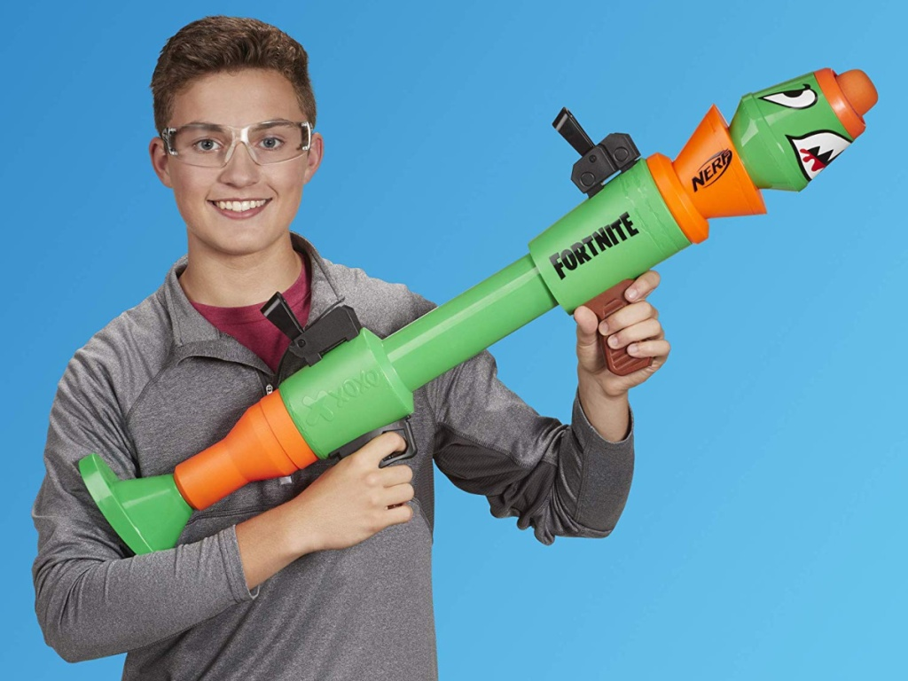 boy playing with nerf fortnite blaster