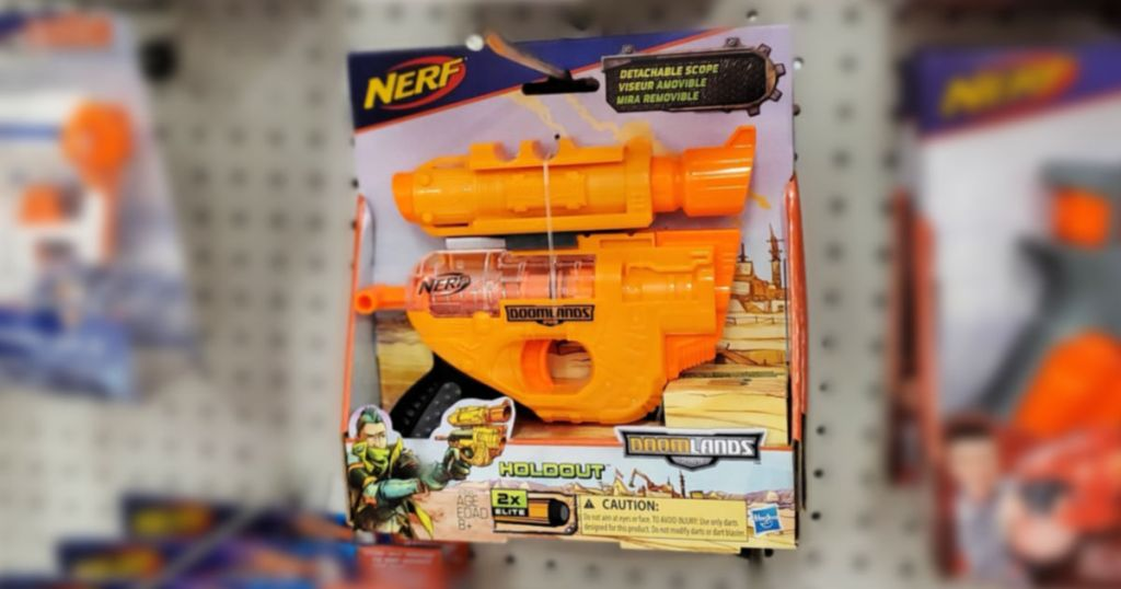 Nerf Holdout gun on shelf