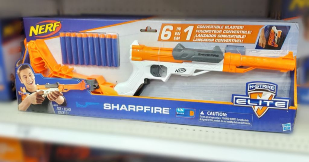 Nerf Sharpfire gun on shelf