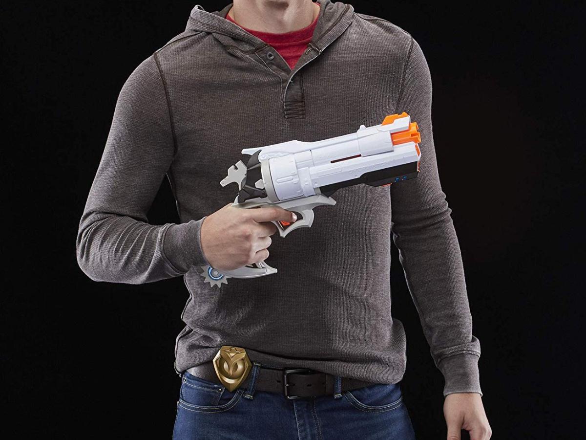 man holding nerf blaster