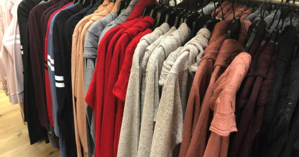 womens sweaters on rack at new york & co