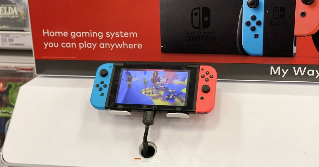 Nintendo Switch Blue and Red on display at Target