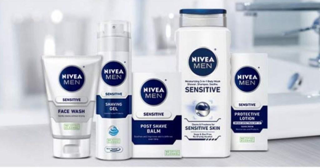 Nivea Men Products on bathroom counter