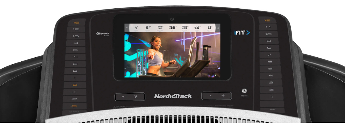 NordicTrack Treadmill 1750 screen with trainer workout