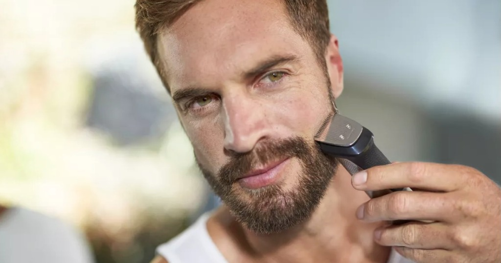 Man shaving with bodygroomer