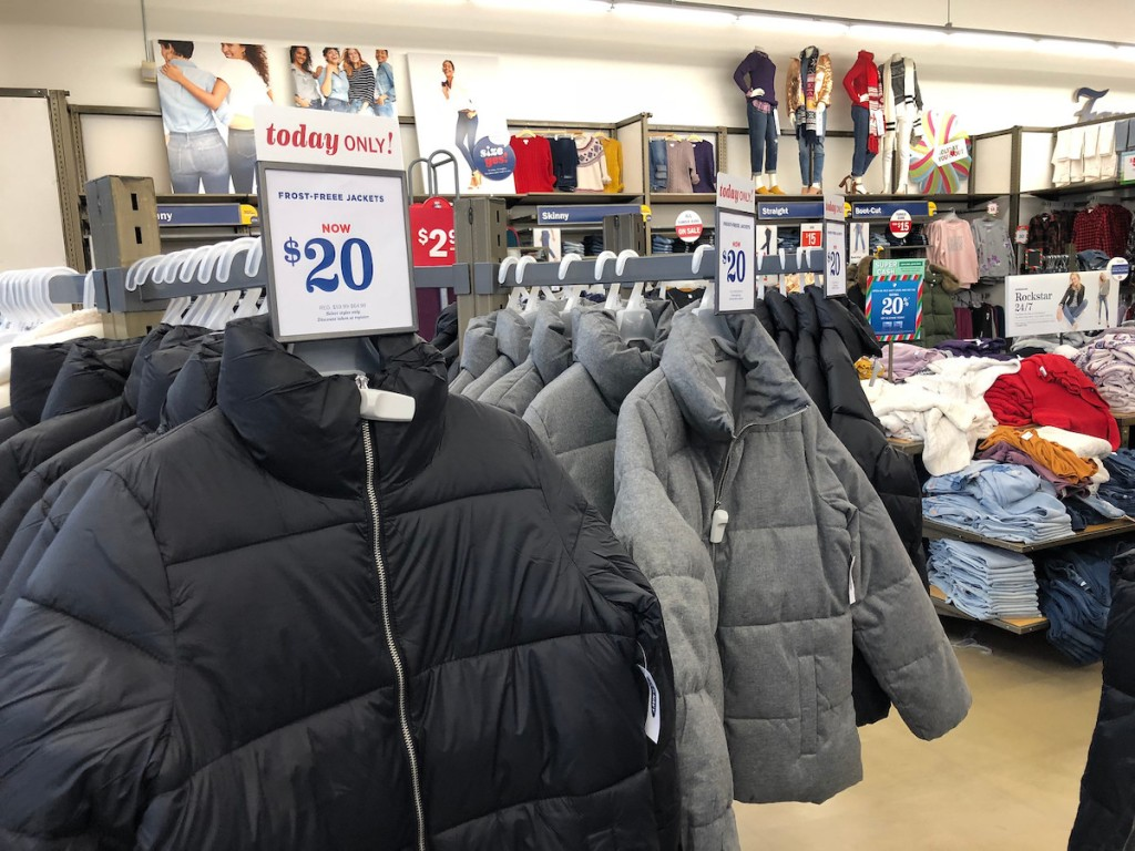 black and grey old navy frost free jacket in store