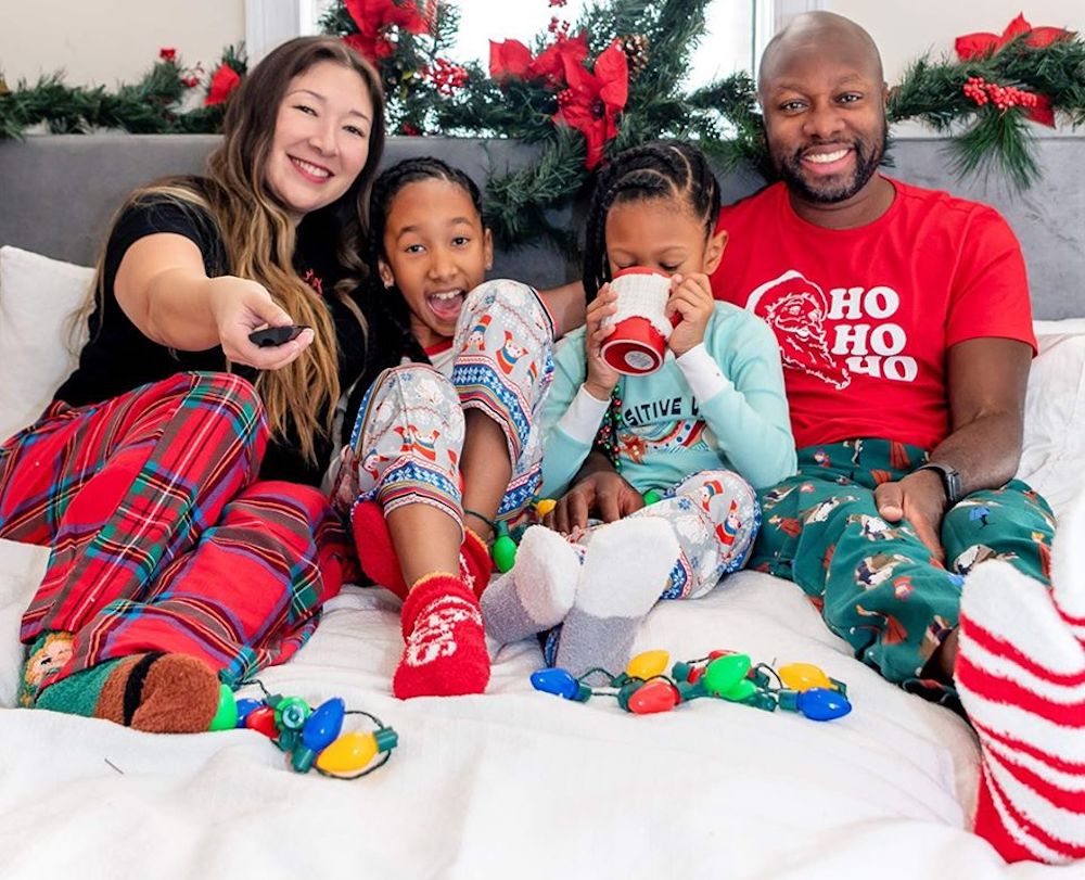 family wearing Old Navy Holiday Pajamas