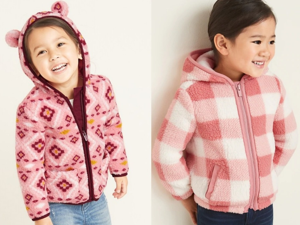 2 girls wearing Old Navy Kids Sherpa Pullovers