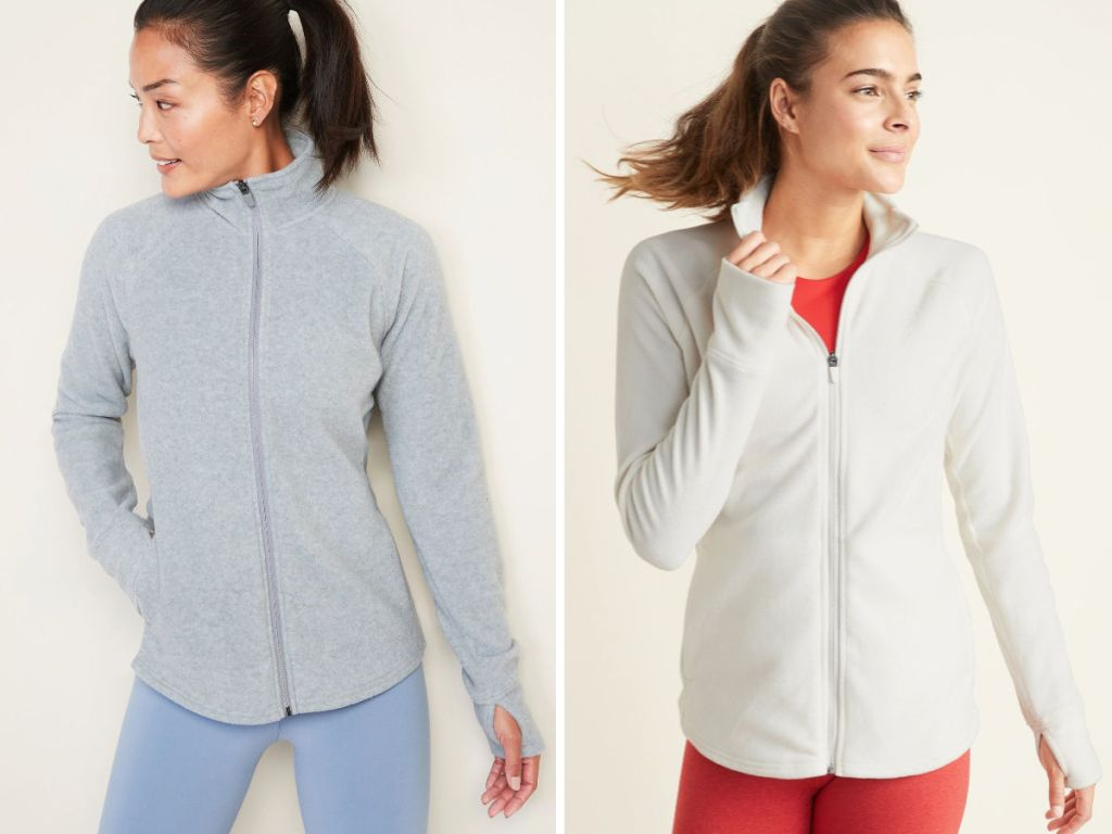 woman wearing light grey and cream colored Old Navy Micro Performance Fleece