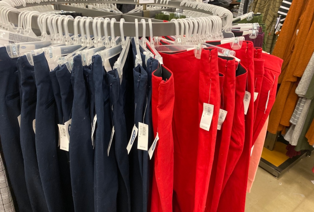 Old Navy Women's Pixie Pants on hangers at Old Navy