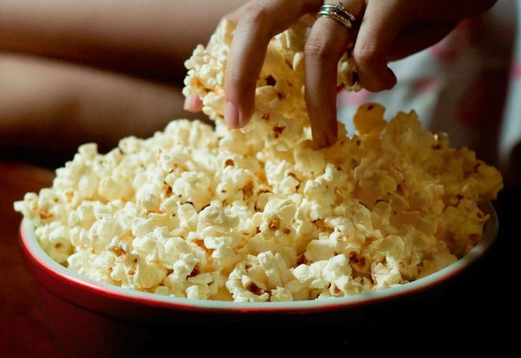 Orville Redenbacher's Gourmet Popcorn Kernels popped in bucket