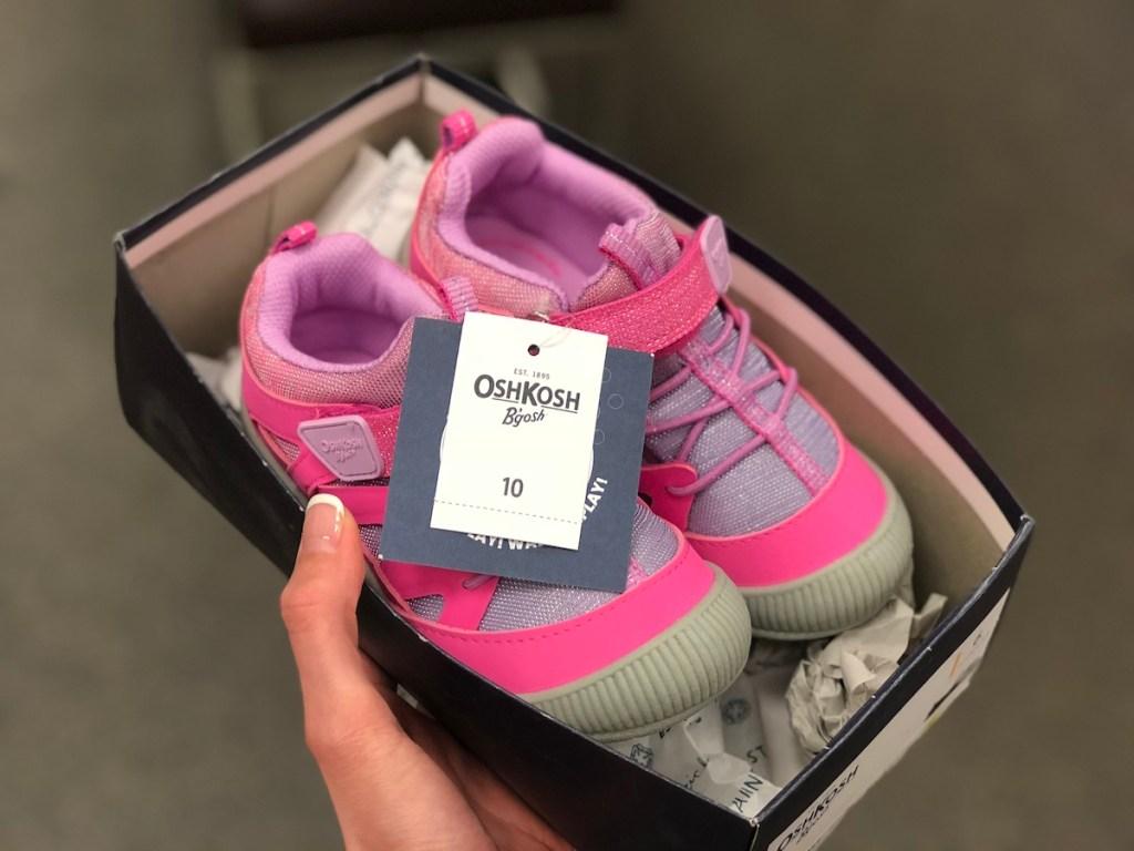hand holding box with OshKosh B'Gosh Toddler Girls Shoes
