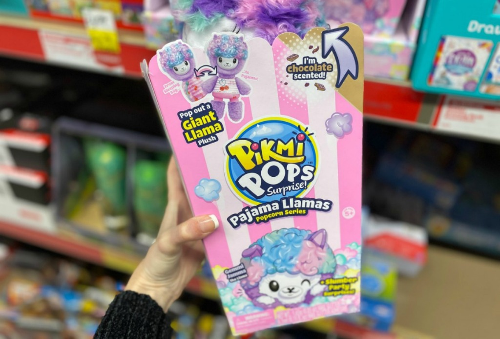 woman holding Pikmi Pops Surprise Giant Pajama Llamas