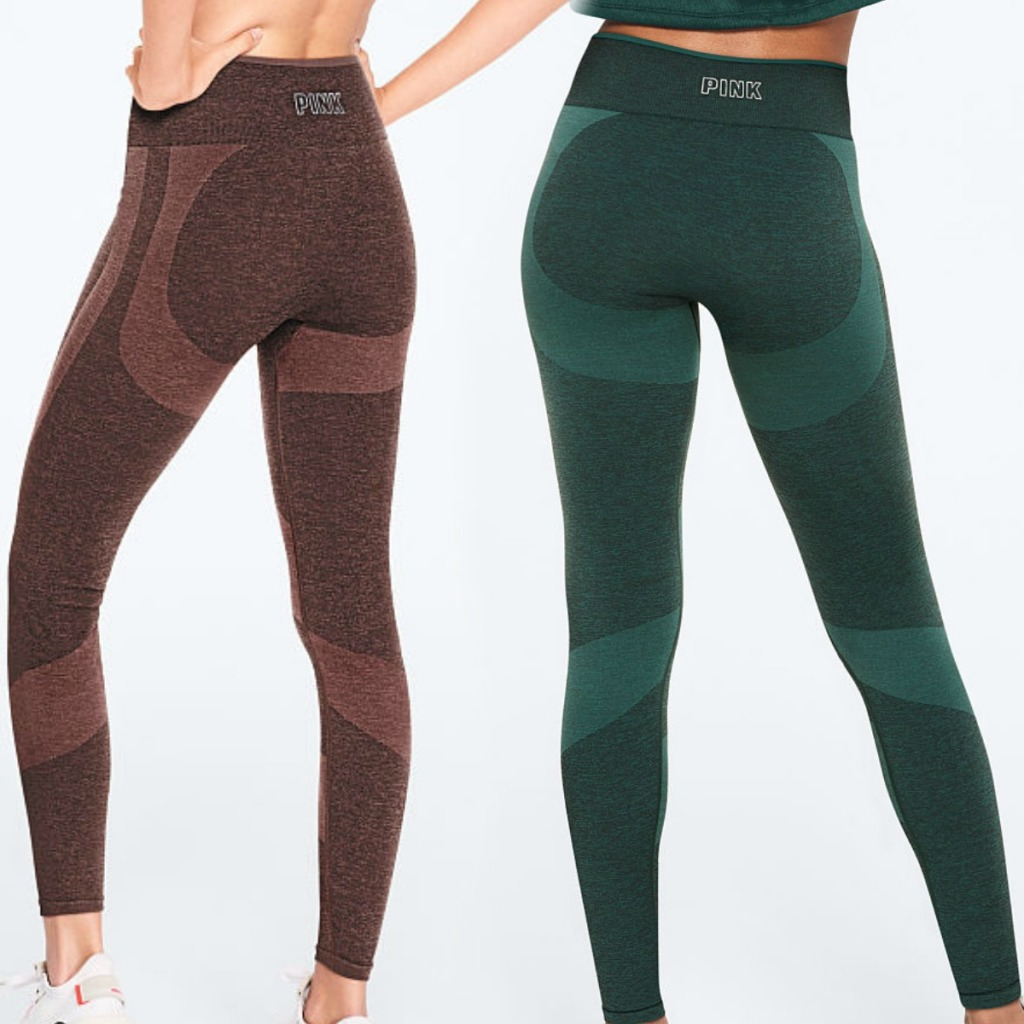 Two colors of Victoria's Secret PINK workout tights
