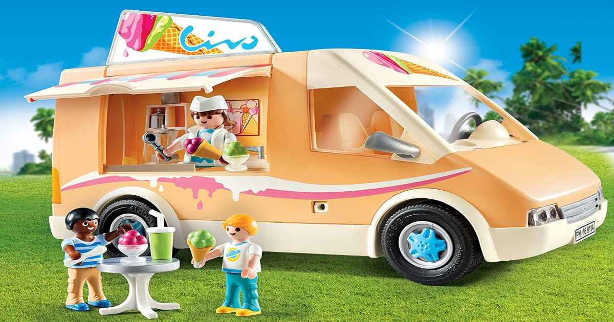 Playmobile Ice Cream Set truck, with figures set up outside and inside.