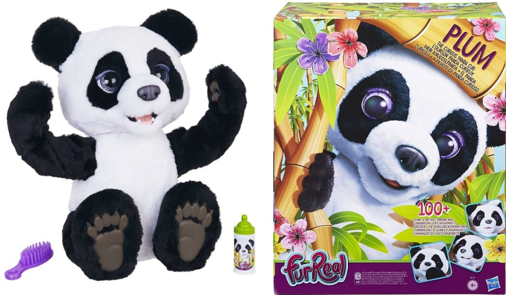 Plum FurReal Panda Plush Toy near package