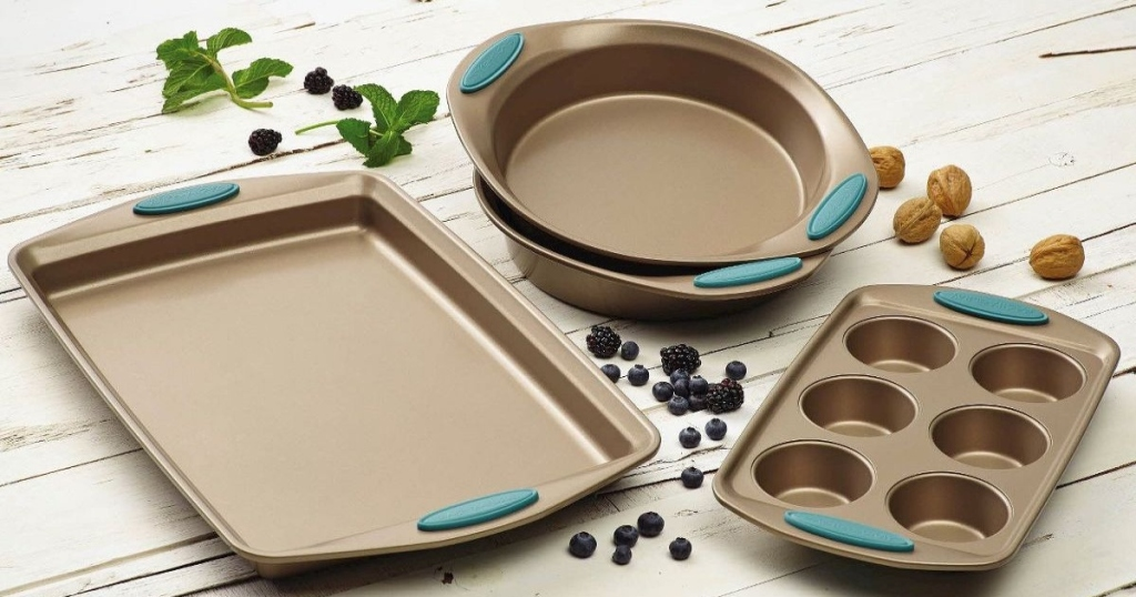 Rachael Ray Bakeware set on table with fruit and nuts by it