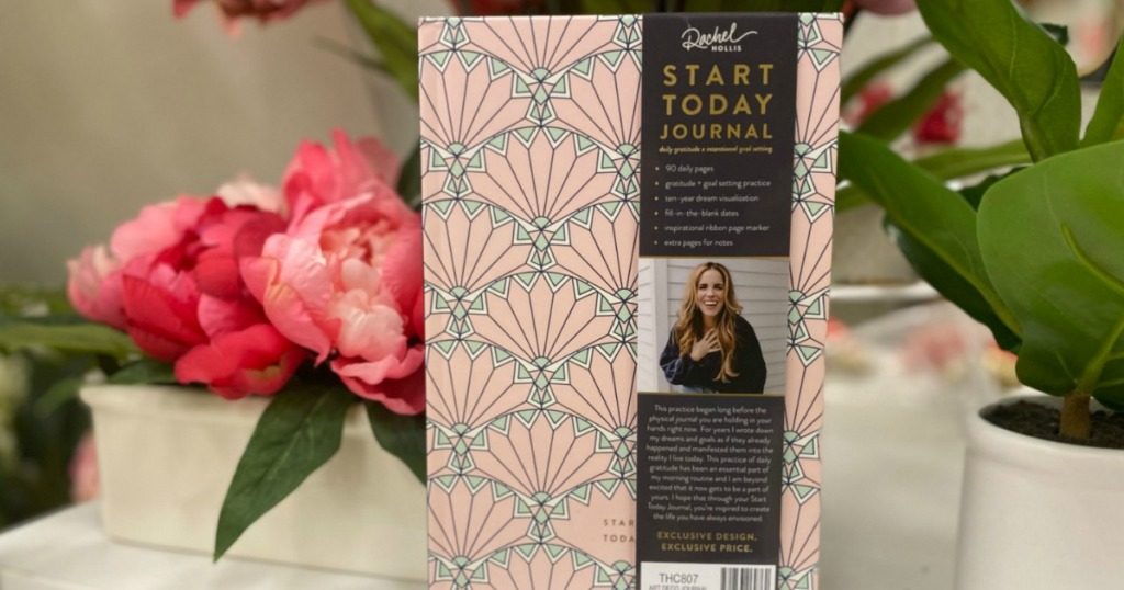 Rachel Hollis Start Today Journal by flower display