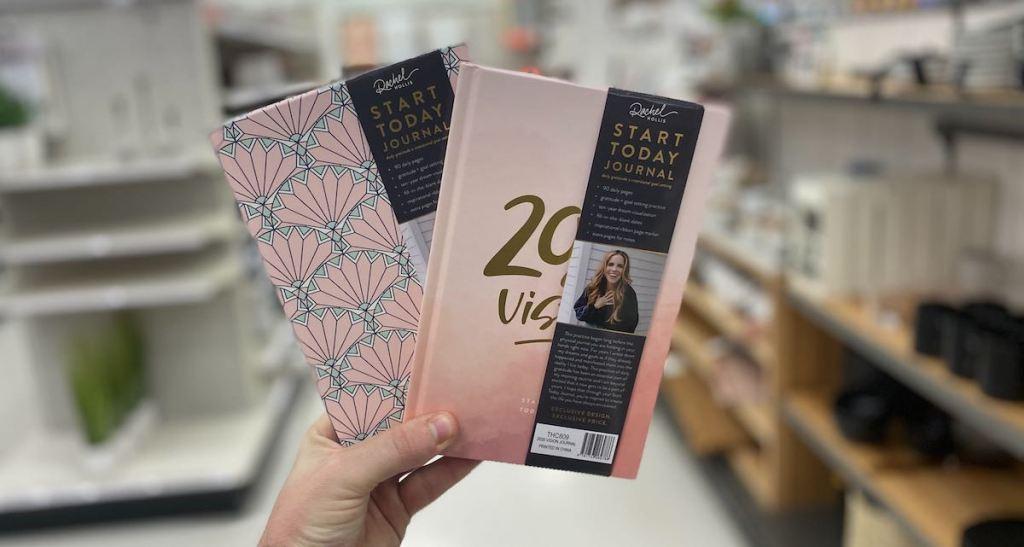 hand holding Rachel Hollis Target Journals
