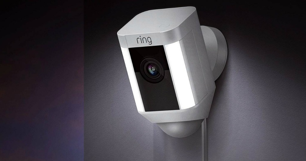 Ring Spotlight Cam in white with LED lights, installed