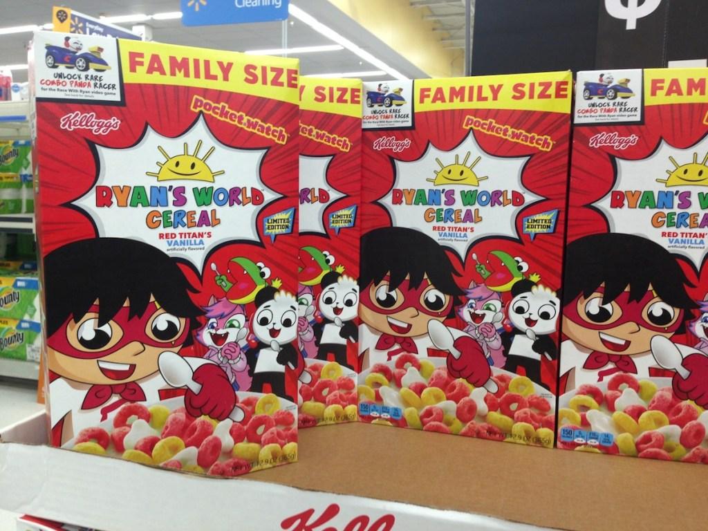 Ryan's World Cereal on pallet at Walmart