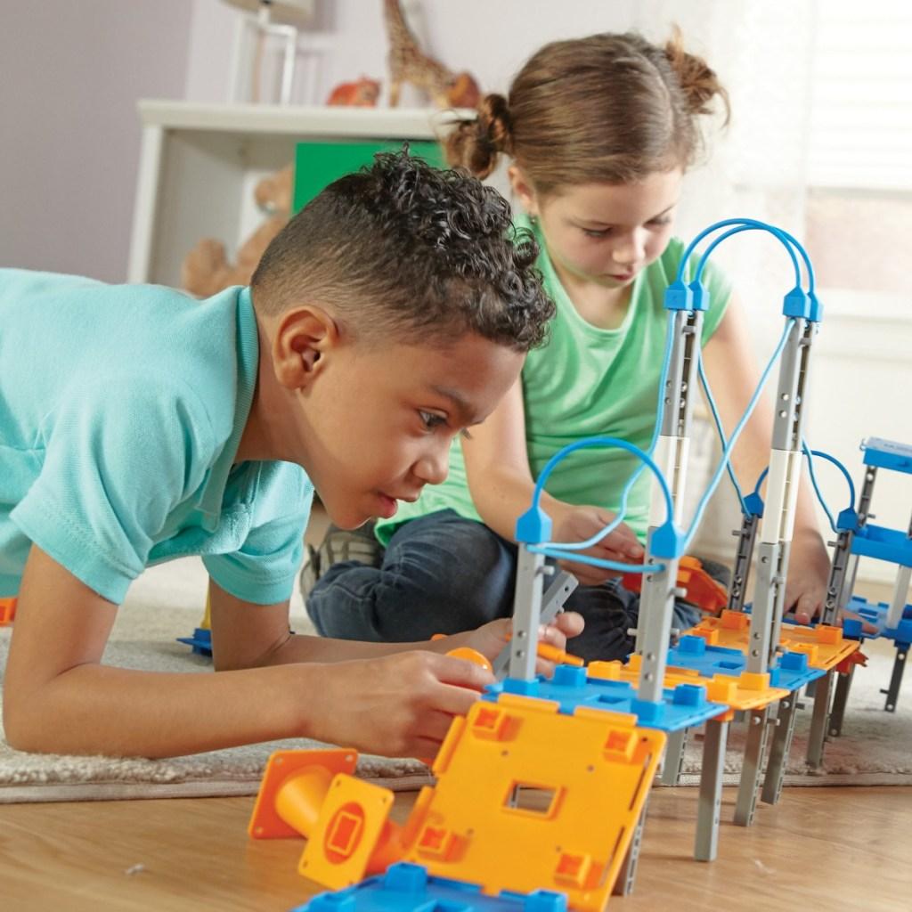 kids building a suspension bridge