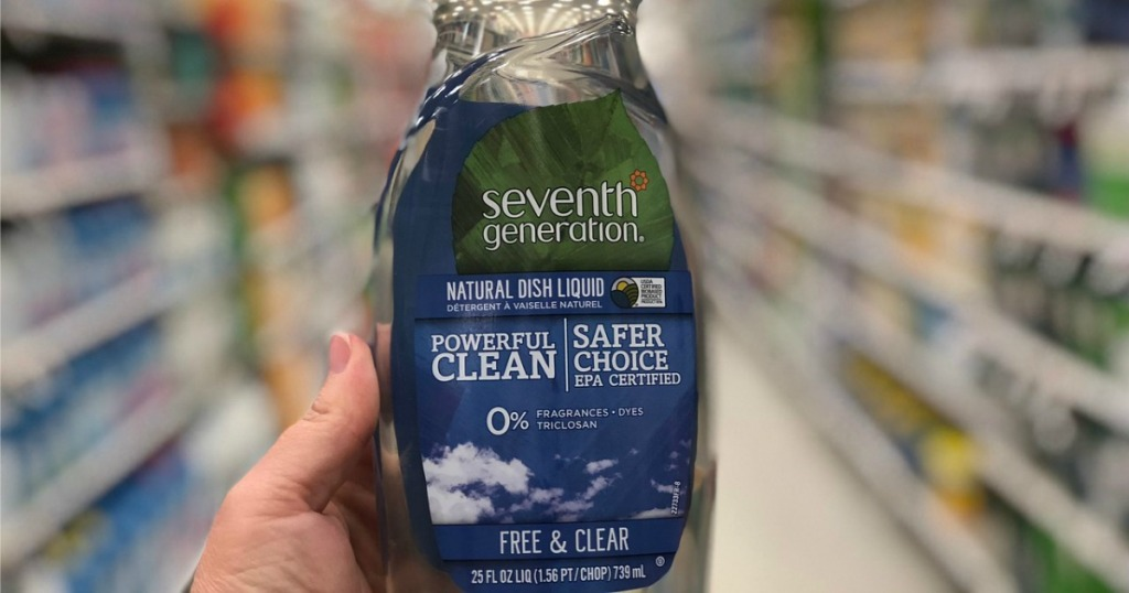 hand holding Seventh Generation Free & Clear Soap