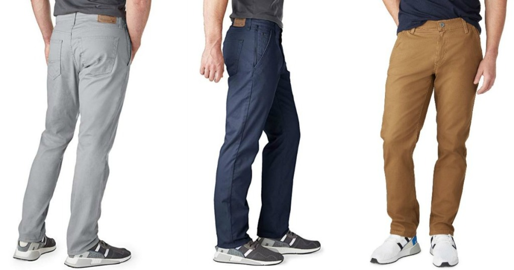 three men wearing chino style pants