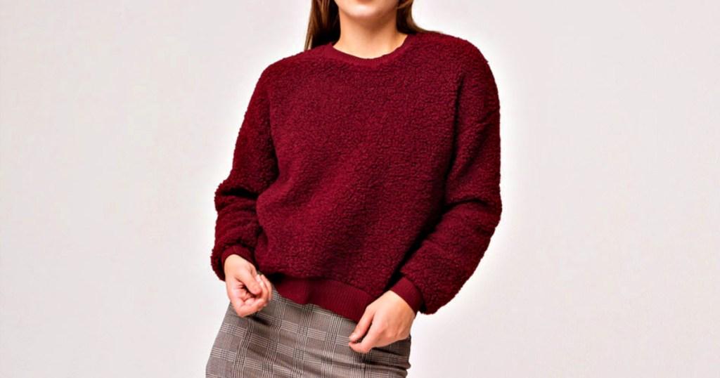 Sky and Sparrow Woobie Wine Womens Sweatshirt