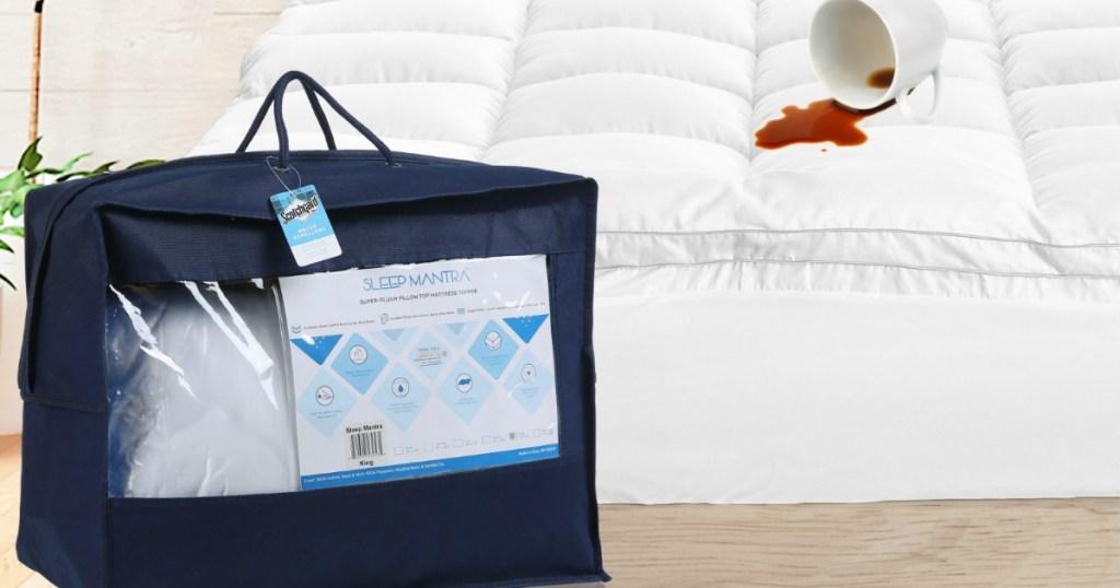 Sleep Mantra Mattress Topper bag next to bed