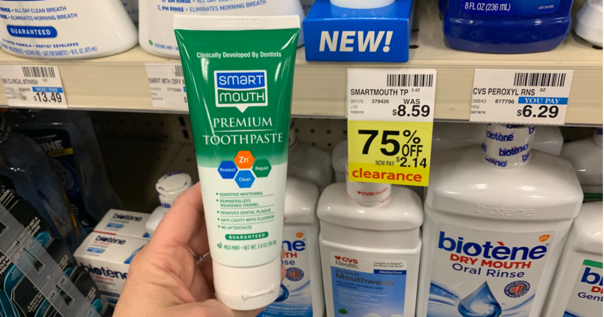Smart Mouth toothpaste in front of shelf