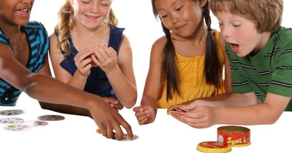 kids playing spot it card game