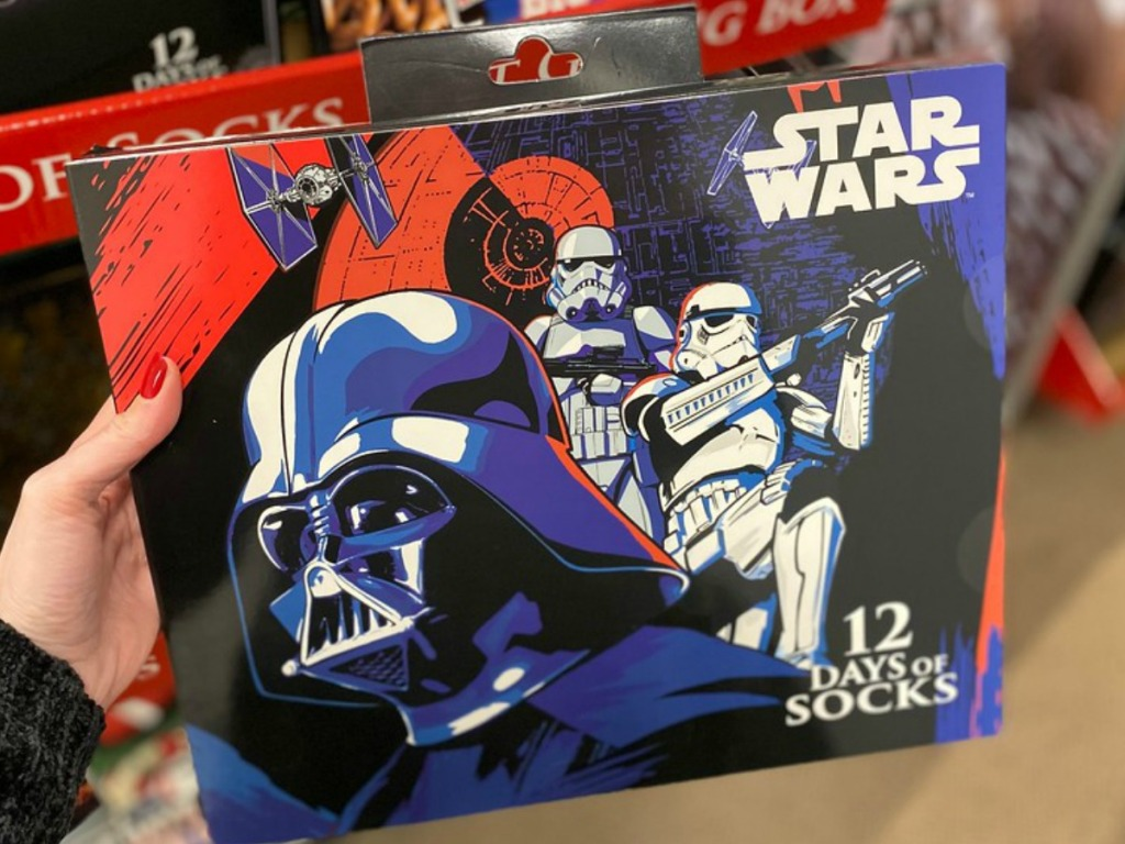 Star Wars themed box of socks in-store