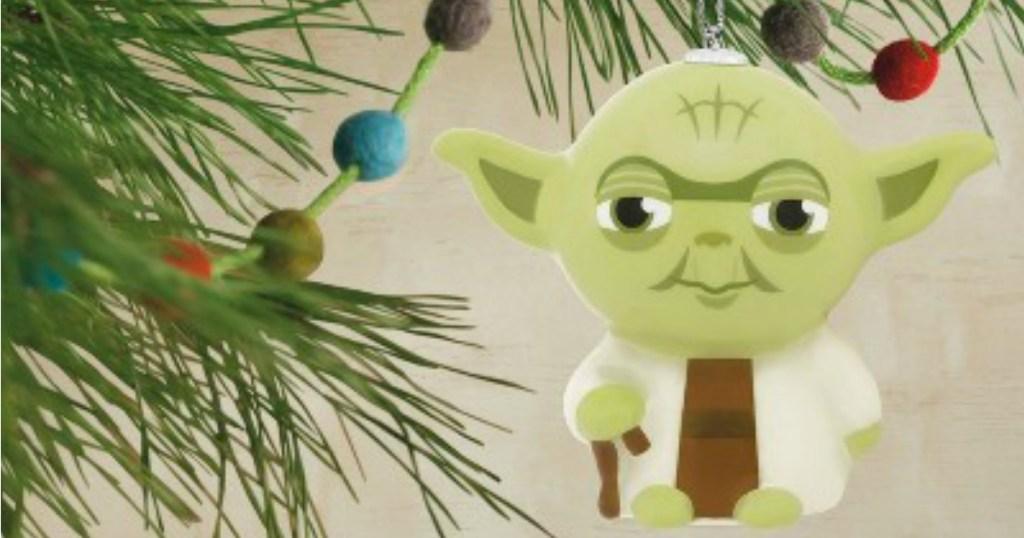 Star Wars Yoda Ornament hanging on tree