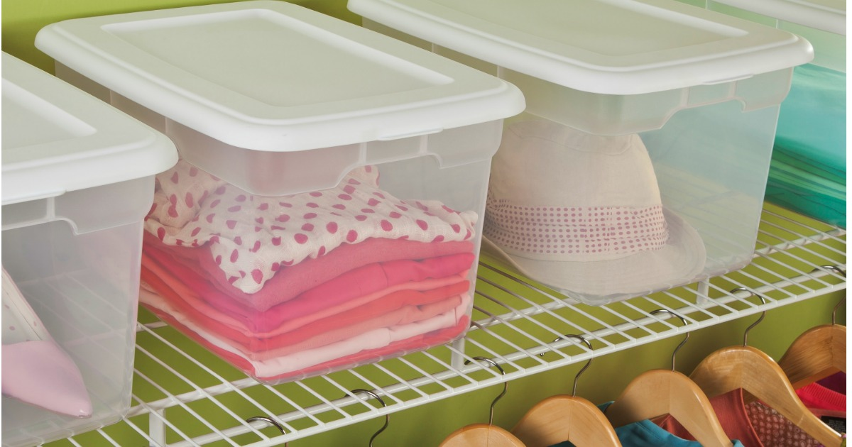 Sterilite 20-Quart Storage Boxes on a shelf in a closet with clothing and accessories in it