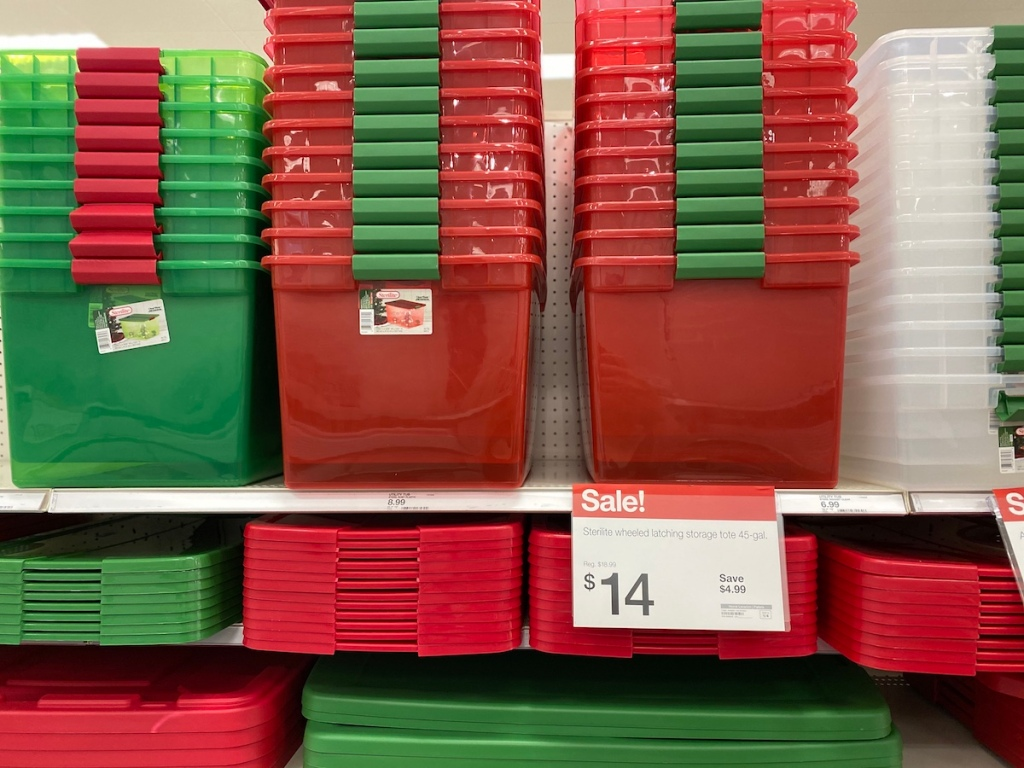 Sterilite 45gal Latching Wheeled Totes on shelf at Target