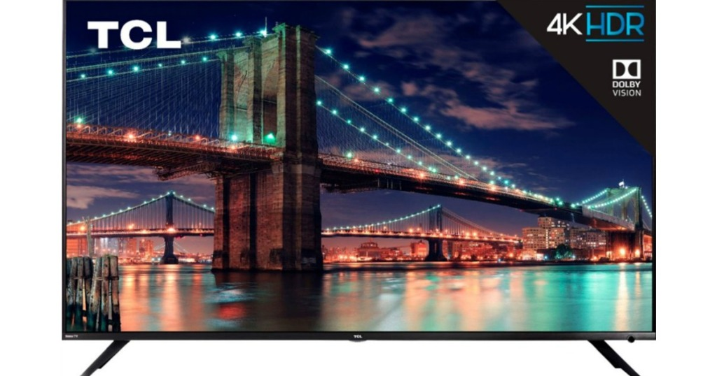 front view of large tv showing a bridge over water