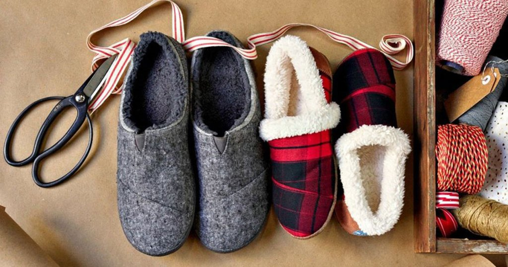TOMS Slippers on wrapping paper and in ribbons
