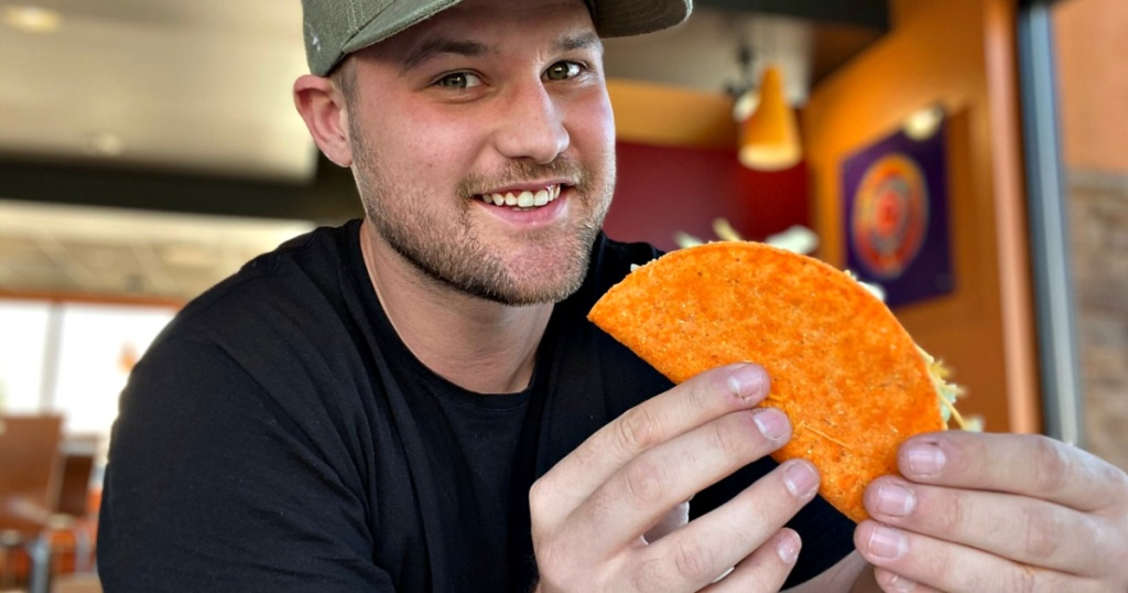 Taco Bell taco in hands of man