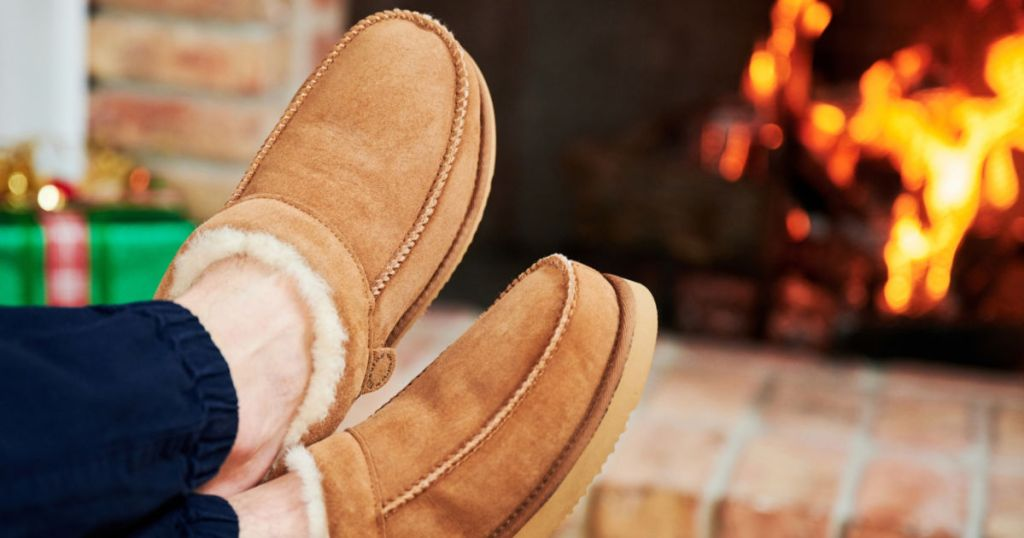 Tan dearfoams being worn near the fire place