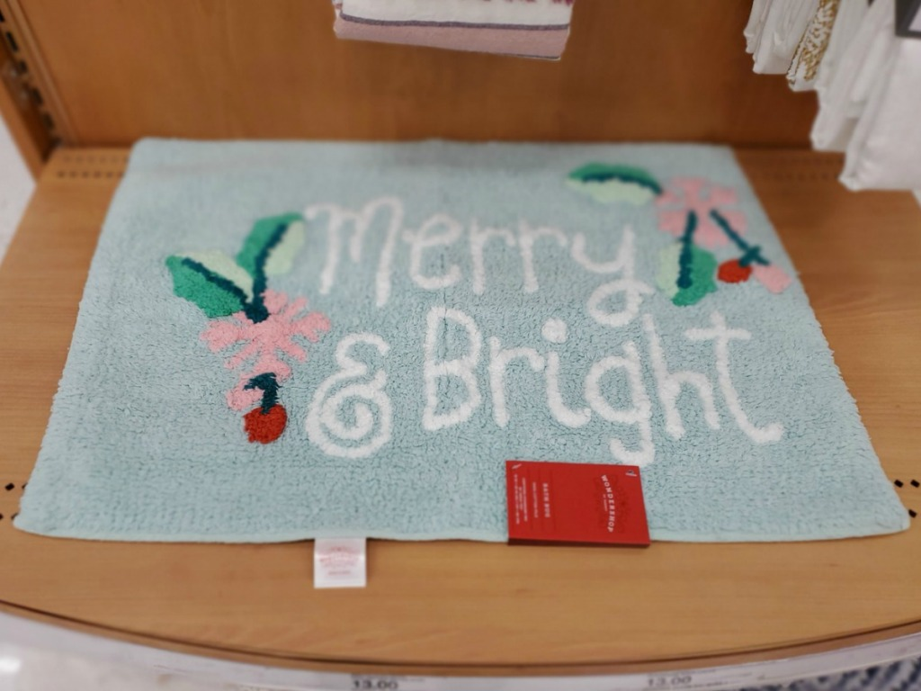 holiday area rug on shelf in-store at Target