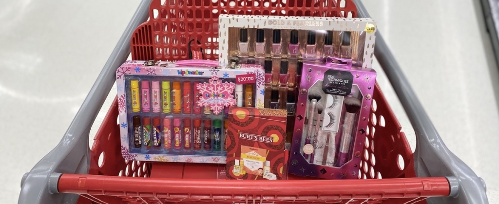 Target Cart with Beauty Gift Sets in it