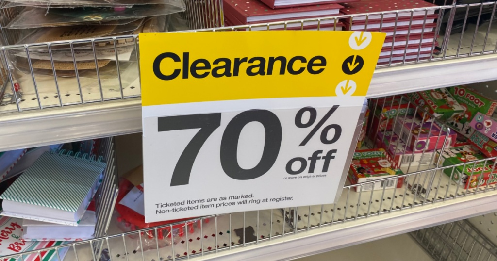 70% off sign at Target for holiday christmas clearance