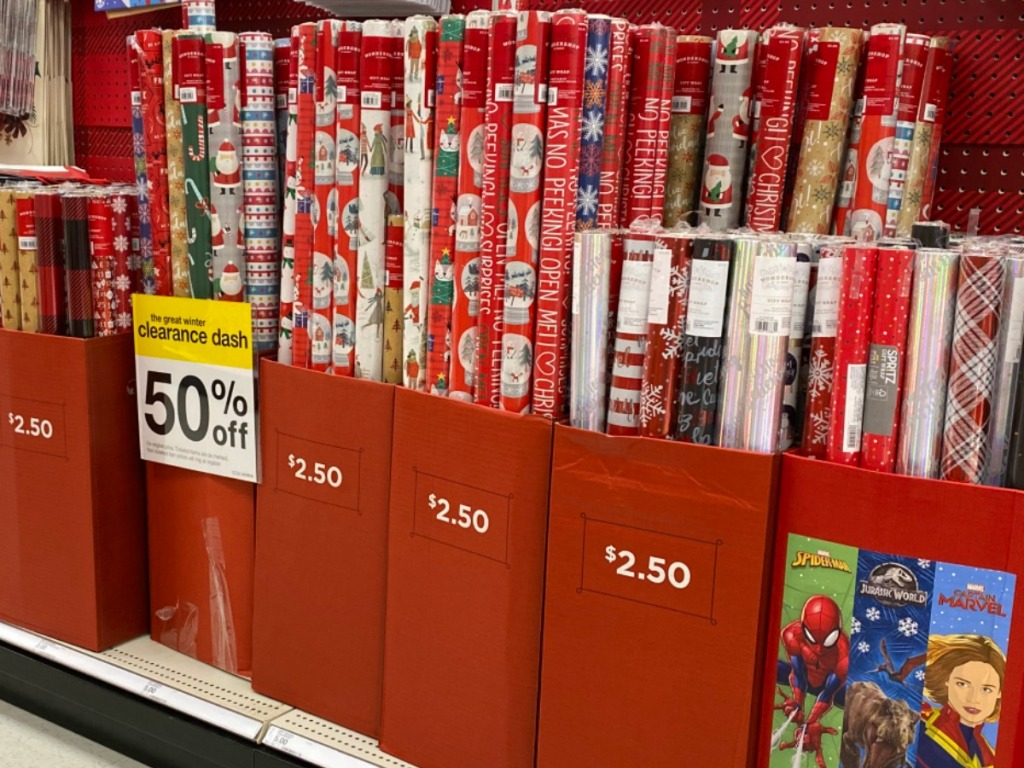 in-store display of wrapping paper clearance