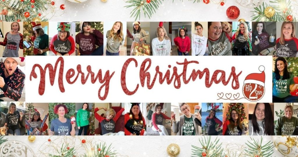 a Christmas picture collage with a Merry Christmas message
