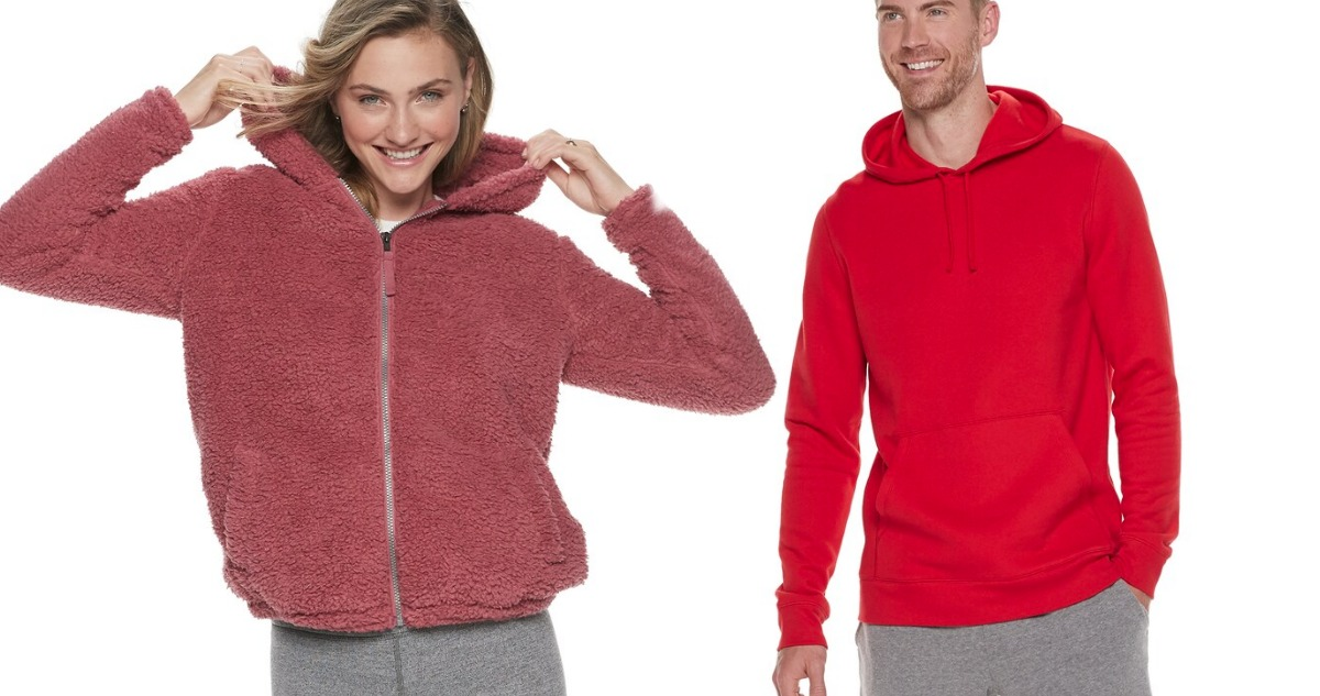 woman and man wearing Tek Gear Cozy Apparel stock images